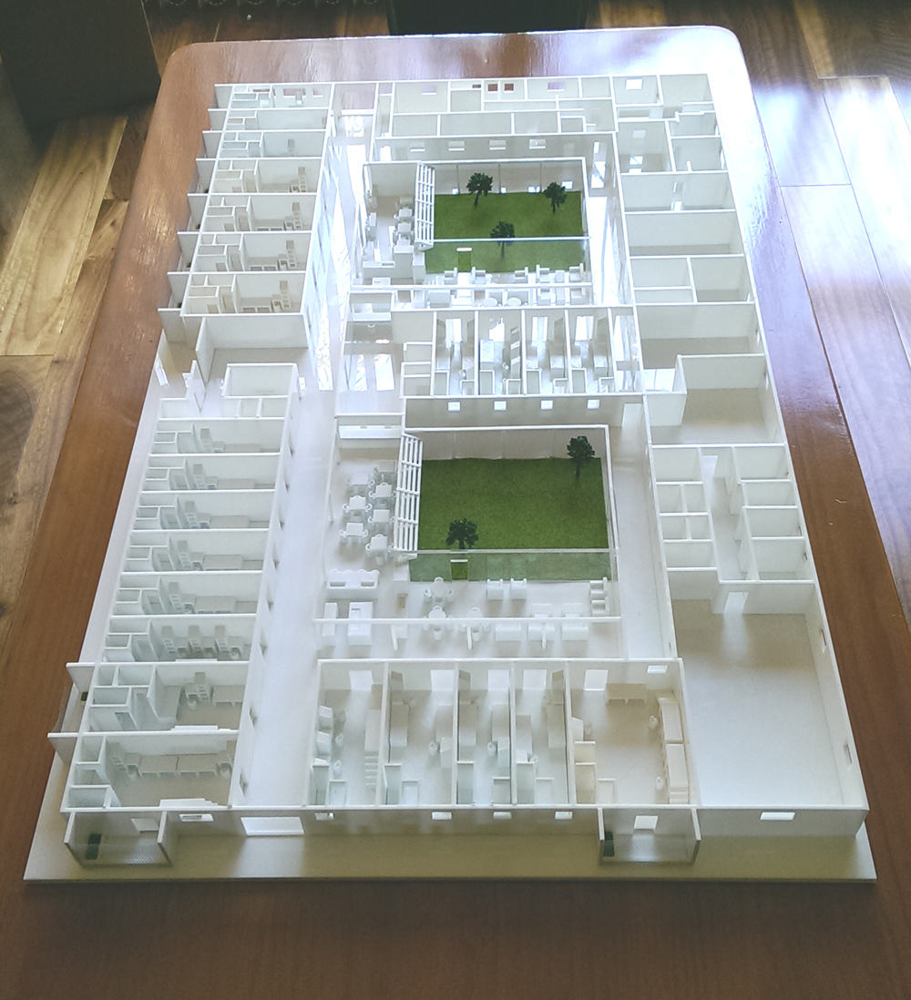 A large combination laser cut and 3D printed architectural model
