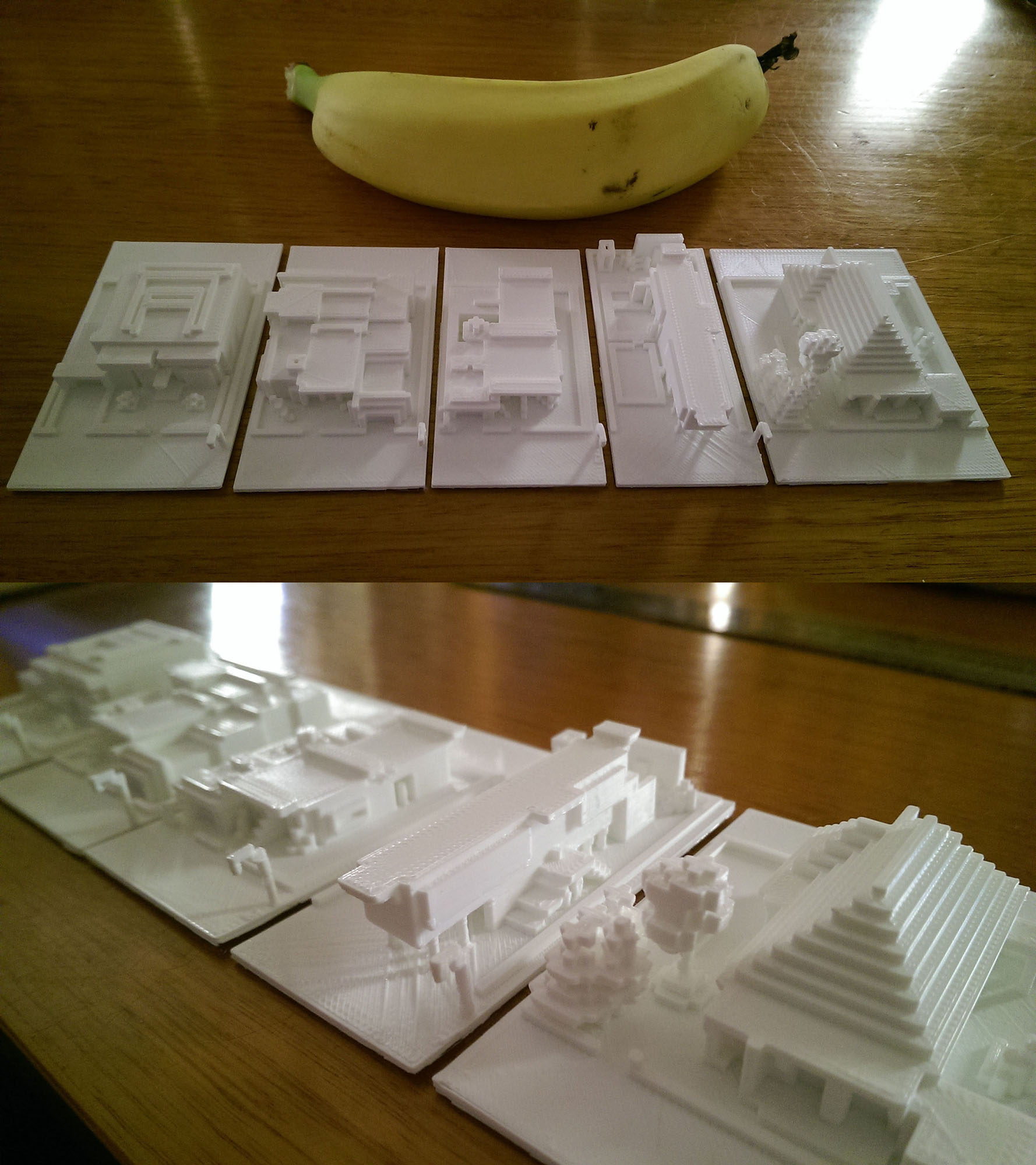 Miniature Minecraft houses, exported directly from the game. Banana for scale.
