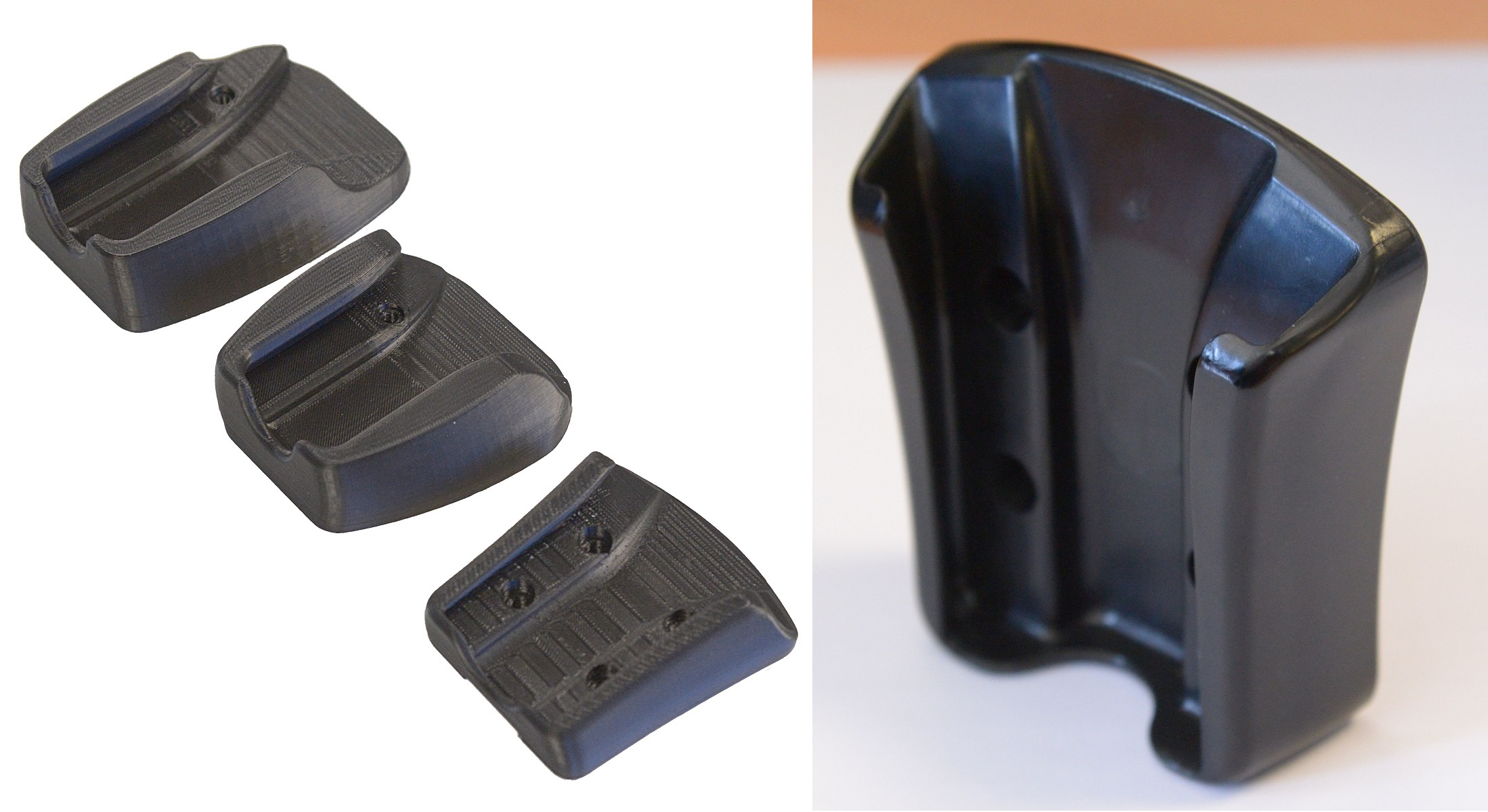 Progression of prototype to final injection molded part.