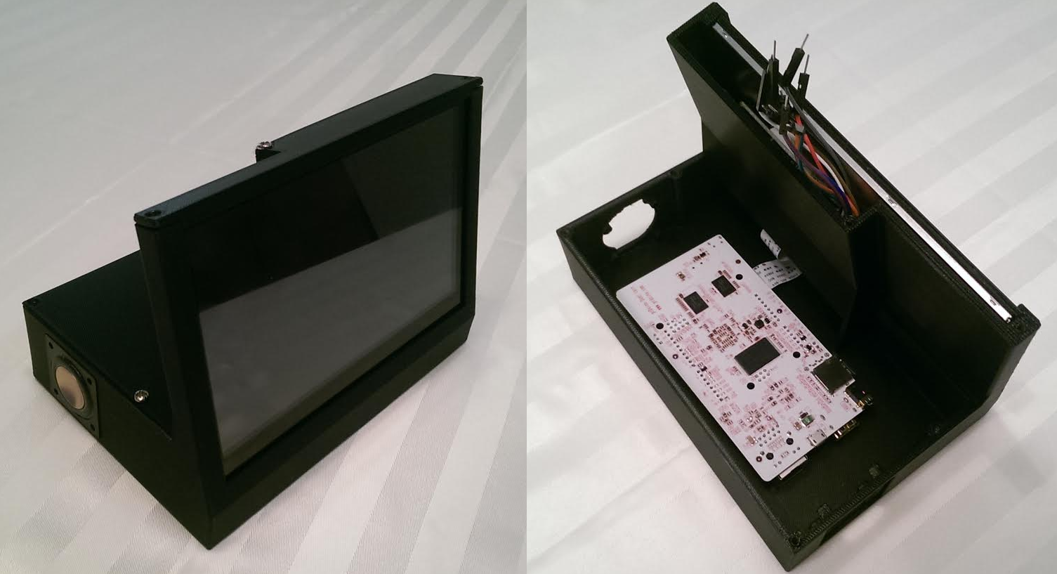 A customer-designed case for an Alarm Clock, designed and built from scratch.