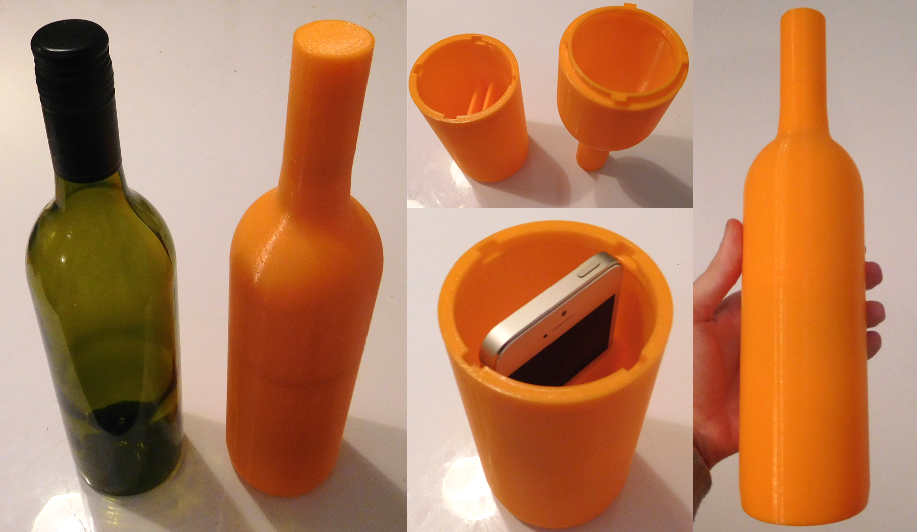 A bottle rapid prototype developed to test accelerations along a conveyor belt using a mobile app.